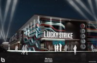 A 3D rendering of Lucky Strike concept full of movement and bright neon colors depicted at night.