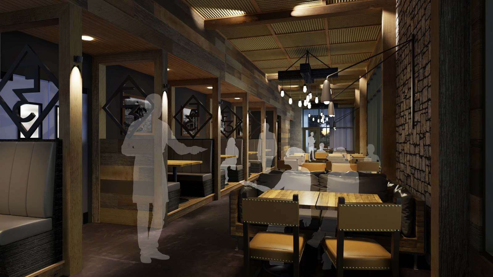 A rendering of the second floor of E3 Chophouse
