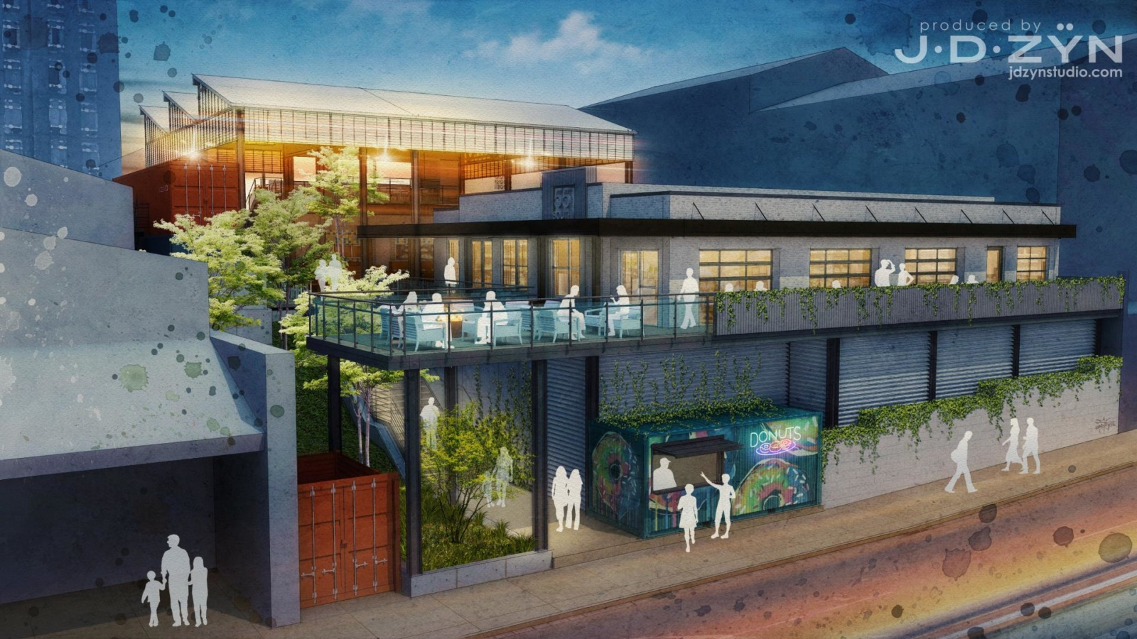 A 3D rendering of Rutledge Hill food complex featuring an open air covered courtyard and shipping container vendors, as well as a true brick and mortar restaurant.
