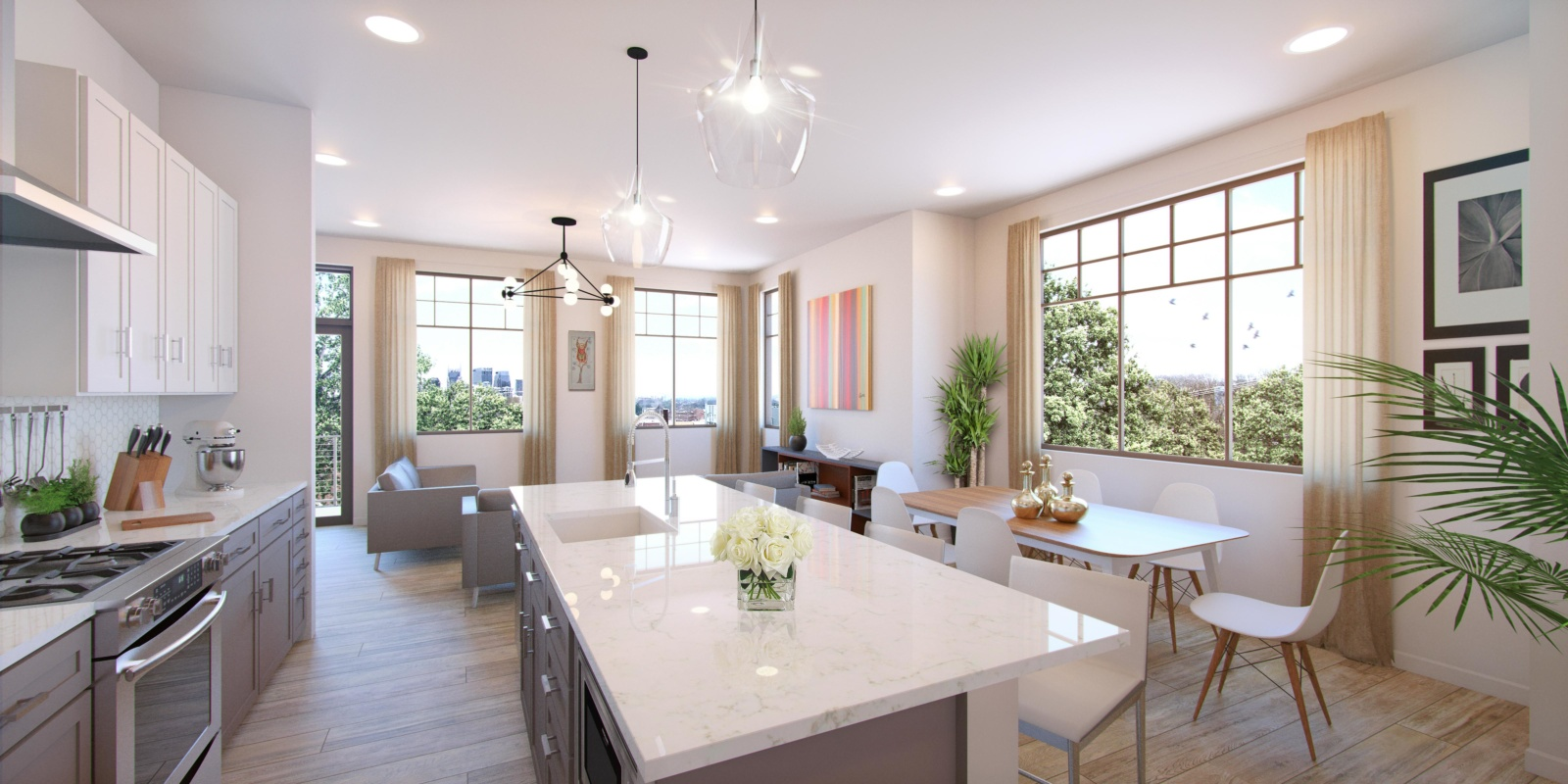3D rendering of a kitchen and living room of Hamilton & Martin