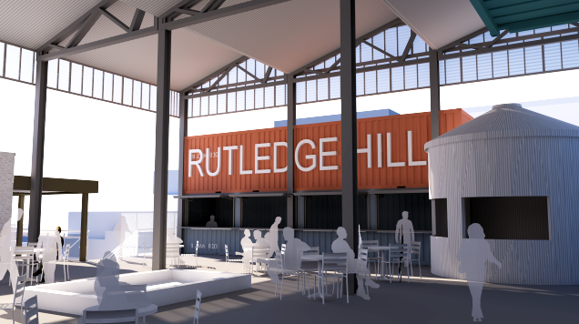 A rough rendering of the interior courtyard area at Rutledge Hill