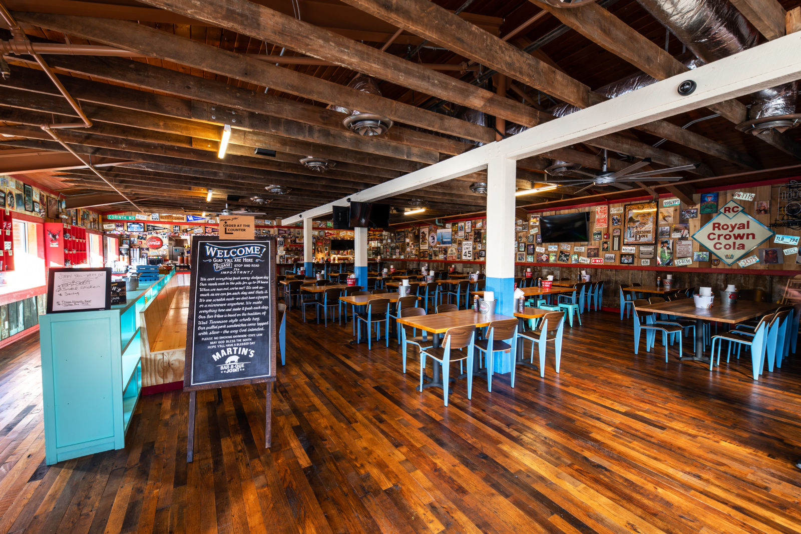 The interior of Martin's BBQ as you walk into the restaurant.