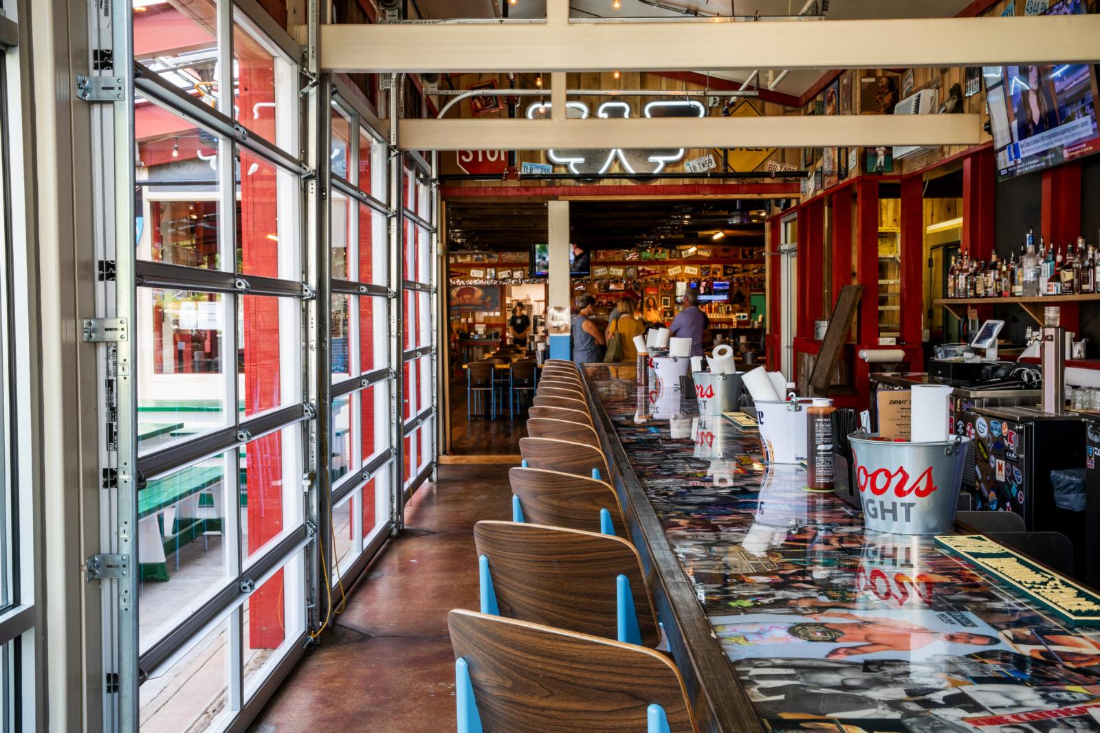 The interior bar at Martin's BBQ.