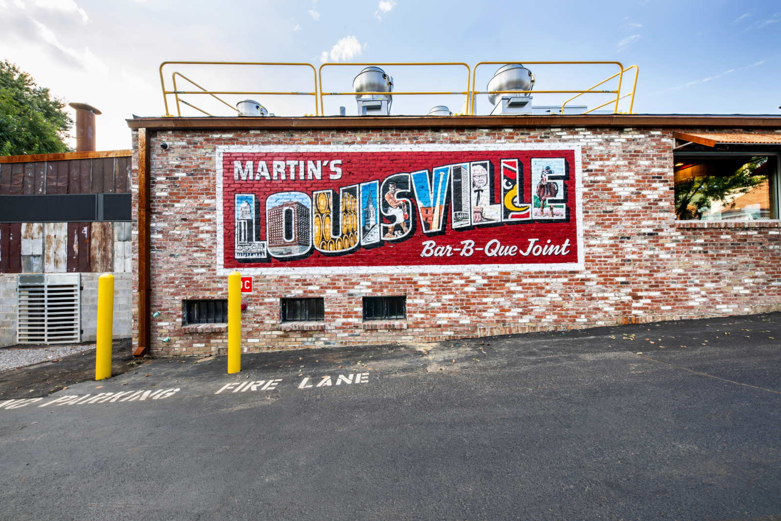A mural on the exterior of the Martin's BBQ building.