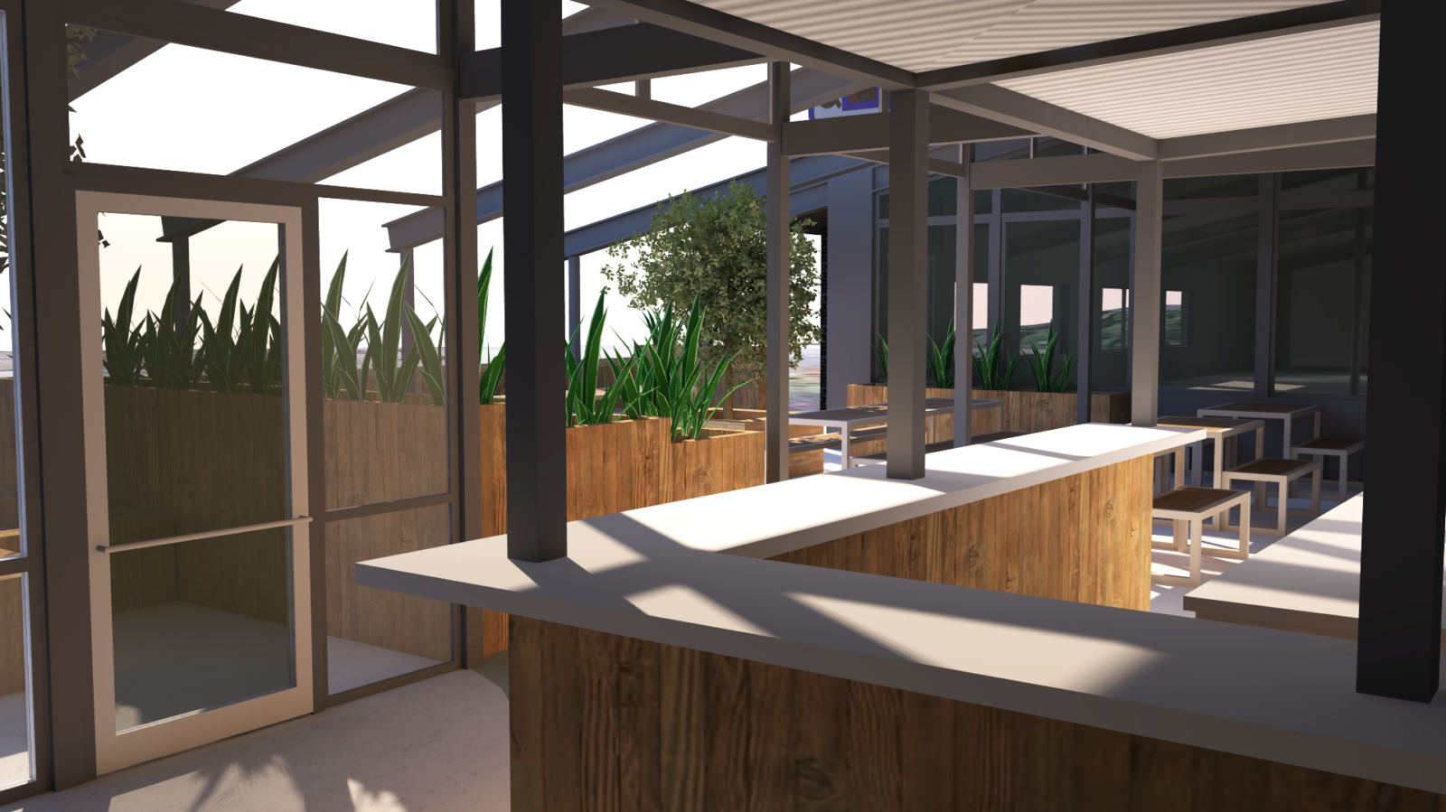A 3d Rendering of the patio at Martin's Louisville.