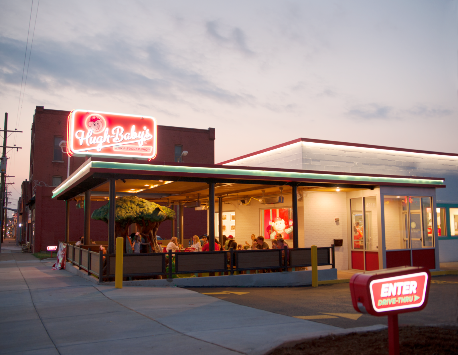 The exterior of ugh Baby's at dusk.