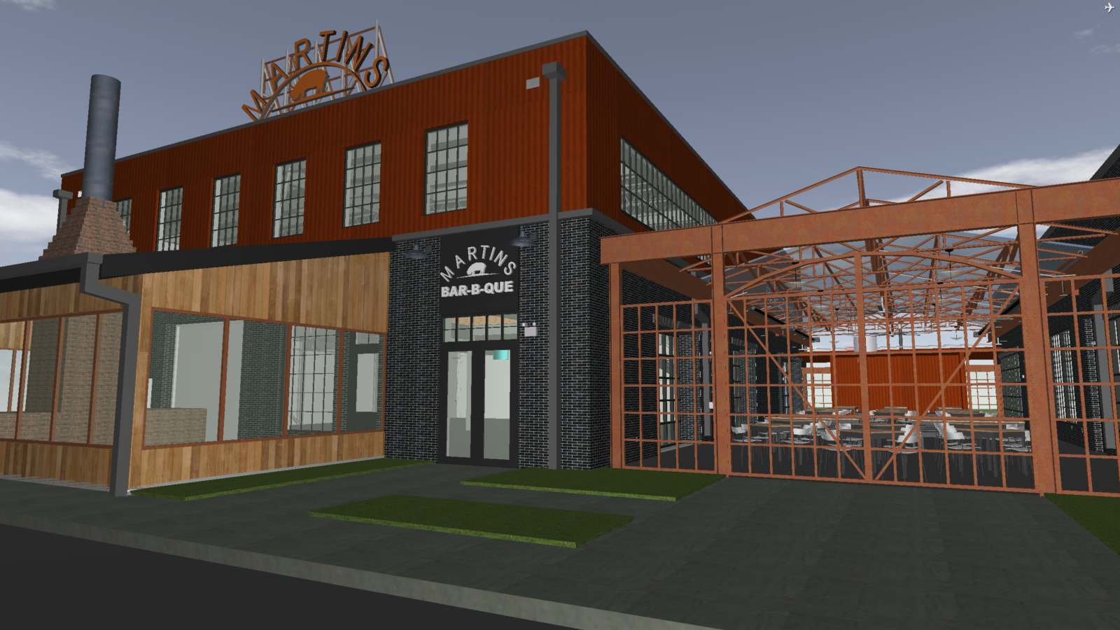 A 3D rendering of the exterior of Martin's BBQ.